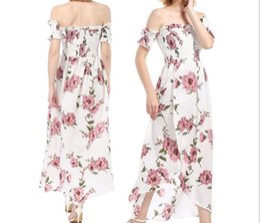162b515ba3 2018 New Chiffon Printed Dresses Noble Elegant Sexy Shoulder Long Banquet  Dress Skirt Fashion Best Sellers