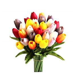 2019 eventos ramo Flor de tulipán artificial PU Látex Tulipanes Ramo Real Touch Flores para fiesta en casa Evento de boda Decoración de Navidad rebajas eventos ramo