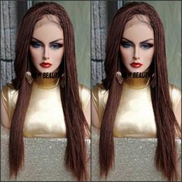 Le parrucche piene del merletto hanno colore misto online-200density full Colore marrone misto Avana Twist parrucca brasiliana parrucca anteriore treccia di pizzo pieno treccia Parrucca sintetica senegalese Twist per l'africa donna
