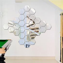 2019 decoração da janela exterior nova marki 7pc Hexagon Espelho acrílico Wall Stickers DIY Art Decor Wall Wall Stickers Home Decor Sala espelhado adesivo decorativo wn628