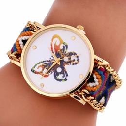 Überlegene quarzuhren online-Superior NEUE Frauen-bunten Schmetterlings-Muster-Knitting Zifferblatt Quarz-Armband-Uhr-Armbanduhr DEC14