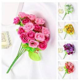 planta de rosa verde Rebajas 2019 venta caliente simulación planta verde rosa ramo de flores arreglo de la boda decoración del hogar decoración accesorios de fotografía