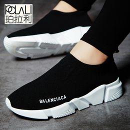 Pattini di estate maschii online-2019 POLALI marca estate uomo calze sneakers beathable mesh maschio scarpe casual slip on calzino scarpe mocassini super leggero calzino trainer sport