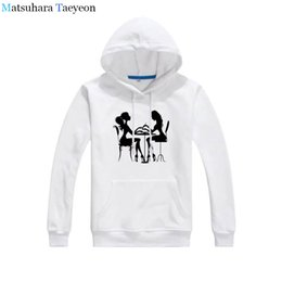 beauty salon clothes Promo Codes - Nail Beauty Salon Geeks Printed Hoodies Women Loose Cotton long Sleeve Female hoodie Fashion Brand Clothing