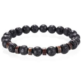 Pulsera de piedra de piedra de lava de moda hecho a mano con cuentas Yoga equilibrio de la energía DIY aromaterapia aceite esencial Difusor pulsera Mujeres hombres desde fabricantes