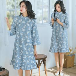 2019 vestido de cisne vestido mulheres Cisne impressão algodão chinês botões mulheres vestido vestido de cisne vestido mulheres barato