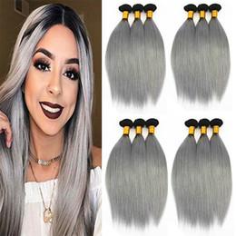 2019 tessuto grigio ombre 1B / Grigio estensioni dei capelli lisci 3 o 4 fasci brasiliani indiani peruviani 100% vergini dei capelli umani tesse colore bicolore Ombre 10-18 pollici tessuto grigio ombre economici
