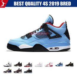 art cactus Coupons - Best Quality 4s 2019 Bred White Cement Cactus Jack Toro Bravo Basketball Shoes Mens 4 Tattoo Fire Red Singles Day Sneakers US 7-13