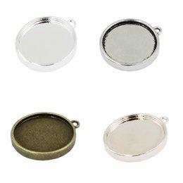 Paramètres de lunette pour résine en Ligne-résine lunette Fit 20mm Double face lunette avec un seul anneau alliage argent antique Cameo / Cadre de verre / Cabochon Paramètres 20pcs / lot