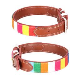 Collares de lona para perros online-Perro rayado de la moda del arco iris collares collar encantador collar del animal doméstico durable de la lona de colores para perros pequeños Bulldog Francés Conductores de 10A