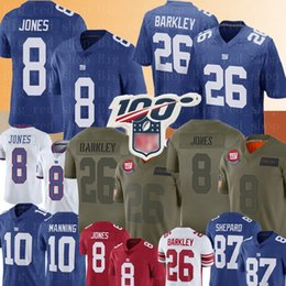 maillot bleu américain Promotion New York 8 Daniel Jones # géant Jersey 26 Saquon Barkley Jersey 10 Eli Manning 87 Sterling Shepard 88 Evan Engram Football Maillots 2020
