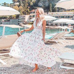 2019 vestido maxi flora 2019 Summer Flora Impreso Boho vestidos de fiesta Swing Maxi Mujer Informal vestidos con cuello en V profundo 2404 vestido maxi flora baratos