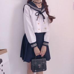 Menina spandex japão on-line-UPHYD Desempenho de Coro de Uniforme Escolar de Inverno de Manga Longa Japão Escola Menina Desgaste Seifuku Uniforme S-XXL SH190908