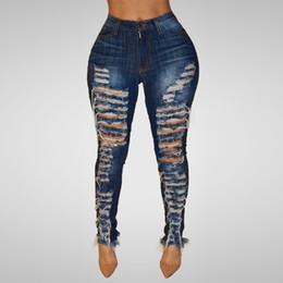 Calça on-line-2019 Mais Novo Mulheres de Cintura Alta Buraco Skinny Denim Jeans Stretch Magro Calças Comprimento Calças de Brim Calças de Brim Das Senhoras Da Moda Feminina