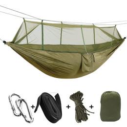 literie de camp Promotion 1-2 Personne Portable Camping En Plein Air Hamac Avec Moustiquaire De Haute Résistance Parachute Tissu Suspendu Lit Chasse Dormir Balançoire