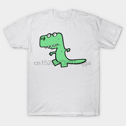 2019 corti di dinosauro verde Maglietta da uomo a manica corta Dinosauro simpatico cartone animato verde Maglietta da dinosauro Kawaii T-shirt da donna corti di dinosauro verde economici