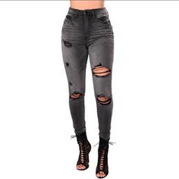 Jeans scarni grandi piedi online-New Slim Stretch pantaloni a vita alta Skinny Jeans donna Autunno e inverno donna sexy vita alta corpo grandi piccoli piedi elastici jeans