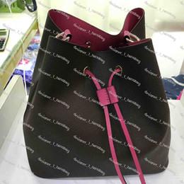 bolsas famoso designer Desconto 2019 Moda genuína balde de couro saco de mulheres designer de moda famosa bolsa com cordão bolsa de impressão crossbody