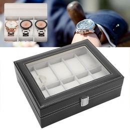 schmuck-display-abdeckungen Rabatt Tragbare PU Leder Flanell Futter Glasabdeckung Uhr Tasche 10 Slots Schmuck Vitrine Lagerung Inhaber Uhrenbox