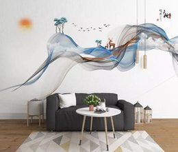 lining paper walls Promo Codes - Custom Photo Mural Wallpaper Retro Hand drawn abstract lines ink landscape elk deer Wall Painting Bedroom Living Room Sofa 3D Wall paper
