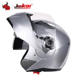 capacete modular para cima Desconto JIEKAI Motocicleta Helme Homens Motocross Rosto Cheio Capacete Lente Dupla Flip Up Viseira Corrida Modular Moto Equitação Moto Casco