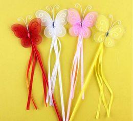Nuovi colori Principessa Farfalla Fata Bacchetta Magica Bastoncini Festa di compleanno Bomboniera Regalo ragazza 4 Colori Bianco Rosa Rosso Giallo SN3447 da bastone di farfalla rosa fornitori