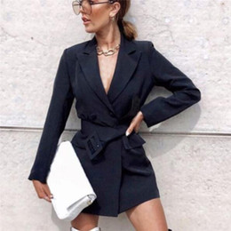 2019 donna carriera carriera nero Autunno Inverno sportiva del vestito delle donne del nuovo casuale Doppio Petto cintura lunghi delle donne Giacche elegante a maniche lunghe Blazer Cappotti