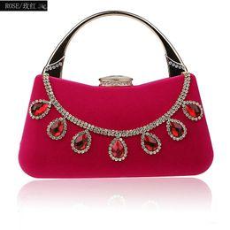 Monederos de diamante morado online-Bolsos de noche de diamante Bolso de embrague de cristal rojo Bolso de mujer Bolsos y bolsos Carteras de boda púrpura bolsa embragues WY160 # 512192