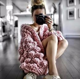 Camisola de crochê aberta on-line-Inverno quente malha Crochet Sweater para Brasão Mulheres que precipita Chunky Oversize Cardigan Aberto Feminino Camisolas Cardigan Mulheres Knitwear