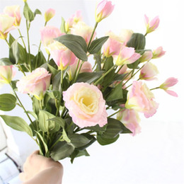 6 teste rami lunghi Eustoma decorazioni di nozze Home Decor scrivania display fiori di alta qualità reale tocco di seta fiori finti all'ingrosso H177 supplier high quality silk flowers wholesale da i fiori di seta di alta qualità all'ingrosso fornitori