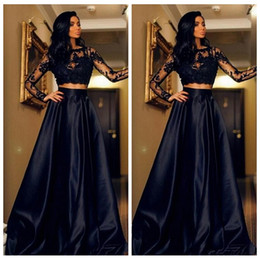 Robe De Soiree Longue 2017 White Black Formal Evening Gowns Long Sleeve Two Piece Prom Dresses Cheap Lace Special Occasion Dress Weddings & Events