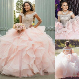 sky blue dresses for quinceanera Coupons - 2019 Peach Ball Gown Quinceanera Dresses Off Shoulder Hollow Back Cascading Ruffles Beads Prom Party Gowns For Sweet 15 Plus Size