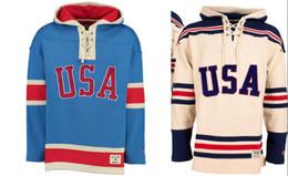 Chandail de hockey à capuche en Ligne-Hockey Jersey Hoodies 1980 Miracle Sur Équipe États-Unis De Hockey Sur Glace Maillots Personnalisé N'importe Quel Nom N'importe quel Nombre Surpiqué À Capuche Chandail De Sport Livraison Gratuite