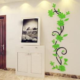 Casa del fiore 3d online-Bella acrilico fiore di rosa 3D Wall Stickers Home Decor House Room Decorazione del partito Fai da te Art 24 * 80cm Nuovo