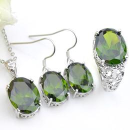 3 pezzi / set Luckyshine collana in argento 925 per le donne gemme peridoto verdi pendenti orecchini anelli set di gioielli gioielli da sposa classici regalo per feste da imitazione gioielli reali fornitori