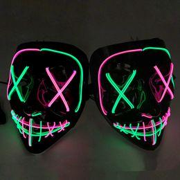 2019 rodas de trabalho ao atacado 7 estilos Halloween LED Glowing máscara máscaras Partido Cosplay clube de iluminação Bar máscaras assustadoras LED 50pcs Brinquedos ZZA1201
