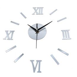 parole di lettering adesivi da parete Sconti Numeri romani effetto specchio adesivo fai da te orologio da parete decorazione della casa