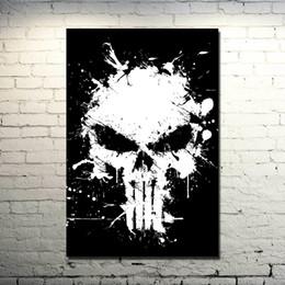 Calavera de tela de seda online-Punisher Skull Art Tejido de seda Impresión del cartel 13x20 24x36 pulgadas Película clásica Imagen de superhéroe para decoración de pared 006