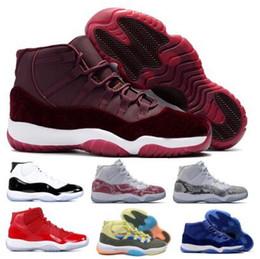 chaussures de basket en velours Promotion 11 11s Chaussures De Basketball Baskets 2019 Nouvelle Salle De Gym Rouge Héritage Velvet Race Concord Espadrilles Space Jam Confiture Platine Teinte XI Hommes Femmes Paniers Chaussures