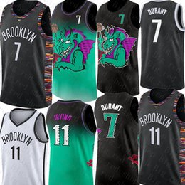 2019 dauernde basketball-trikots 7 Kevin Durant Jersey Kyrie NCAA 11 Irving Jersey College-2019 neue schwarze weiße Basketball-Trikots Günstige Großhandel rabatt dauernde basketball-trikots
