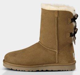 587cb100 Лучшее качество женщины снегоступы Австралия стиль водонепроницаемый корова  замша Зимняя Леди открытый сапоги Марка зимняя обувь