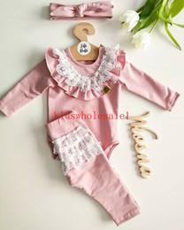 2019 chapéus bola de futebol 3PCS Toddler Kids Baby Girl Infant Clothes Sets Ruffles Solid Lace T-shirt Top Pants Outfit Tracksuit