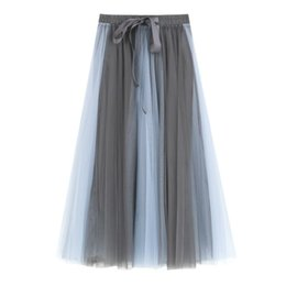 Printemps Contraste Couleur Mesh Patchwork Maxi Jupes Longues Taille Haute Bowknot A-line Tulle Femmes Jupes Élégante Jupe Blanche ? partir de fabricateur