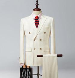veste de loisirs à double boutonnage Promotion Mens or rayé tweed costumes 3 pièce double mariage marié marié smokings mince loisirs vestes de haute qualité (vestes + pantalons + gilets)