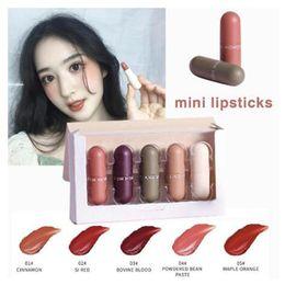2019 forma de labios Pudaier 5 Unids / set Forma de Cápsula Linda Terciopelo Mate Lápiz Labial Duradera Impermeable Batom Labios Rojos Cosméticos Maquillaje de Maquillaje forma de labios baratos