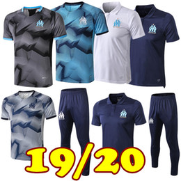polo sports Promo Codes - 2019 20 Olympic Marseille Tracksuit Soccer Jogging Football Coat Pants Sports Training Suit THAUVIN PAYET 19 20 Men Football Polo shirt