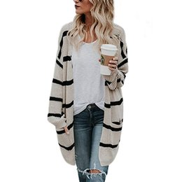cotton knit cardigan plus size Promo Codes - 2019 Casual Long Spring Autumn Striped Sweater Plus Size Female Street Fashion Burgundy Sweater Open Stitch Knit Cotton Cardigan