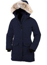 snap pad Rebajas Venta CALIENTE 2019 Trillium Parka pluma de ganso chaqueta Coyote abrigo de piel de invierno de las mujeres abrigo largo ganso de Canadá Parka Mujeres para Mujeres 55