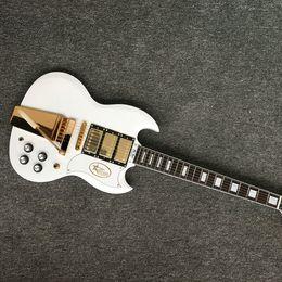 Chitarre sg custom online-Chitarra elettrica SG nuovo stile custom, 3 pickups chitarra elettrica SG hardware oro con sistema tremolo oro, spedizione gratuita