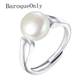 Argentina BarrocoSolo 2018 Anillo de perlas de moda Joyas de plata Ovalado Anillos de perlas naturales de agua dulce Anillos de plata esterlina 925 para mujeresRegalo Suministro